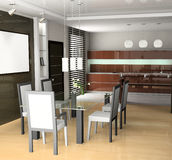 Dining room. Modern interior of a dining room 3D Stock Photo