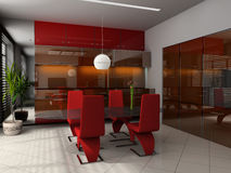 Dining room. Modern interior of a dining room 3D Royalty Free Stock Photo
