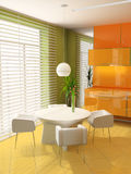 Dining room. Modern interior of a dining room 3D Stock Image
