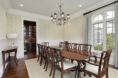 Dining room with adjacent bar Stock Photography