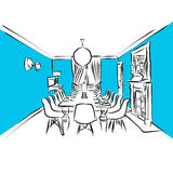 Dining room Antique planning sketch, Blue Series royalty free illustration