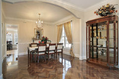 Dining room with arched entry Stock Photo