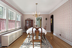 Dining room with arched entry Stock Photos