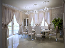 Dining room in  avant garde design Royalty Free Stock Photo