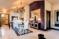 Dining room in baroque house Royalty Free Stock Photos