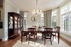 Dining room with bay windows stock photos