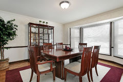 Dining room with bay windows Royalty Free Stock Images