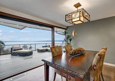 Dining room of Beautiful panorama house Royalty Free Stock Images