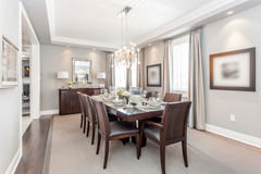 Dining room. A beautiful view of a dining room royalty free stock photography