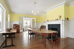 Dining room with black fireplace Stock Photo