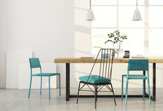 Dining room with blue chairs. Stock Photo