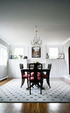 Dining room. BOSTON, MA - NOVEMBER 24, 2016: Stylish modern dining room in a beautiful house Stock Photos