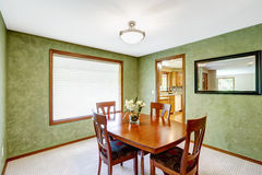 Dining room with bright green walls Royalty Free Stock Photos