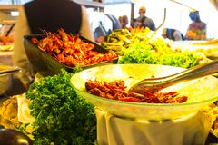 Dining Room Buffet aboard the luxury abstract cruise ship. Dining Room Buffet aboard the abstract luxury cruise ship. Selective focus. vegetable dishes. boiled Stock Photo