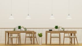 Dining room or cafe - 3D Rendering. Dining room or cafe and frame for artwork - 3D Rendering for artwork Royalty Free Stock Photography