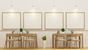 Dining room or cafe and frame for artwork - 3D Rendering Stock Photo