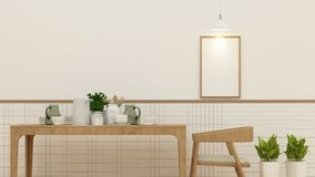 Dining room or cafe and frame for artwork - 3D Rendering. For artwork Royalty Free Stock Photos