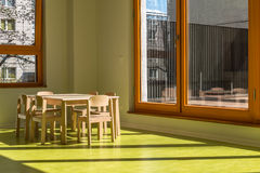 Dining room for children in kindergarten Stock Image
