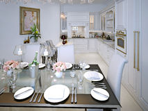 Dining room classic style Royalty Free Stock Photos