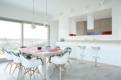 Dining room with color elements Royalty Free Stock Image