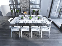 Dining room contemporary style Royalty Free Stock Image