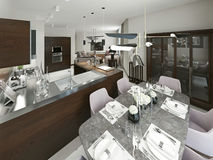 Dining room contemporary style Stock Images