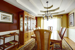 Dining room with contrast color walls Stock Photography