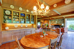 Dining room with a cowboy horse ranch. Stock Photos