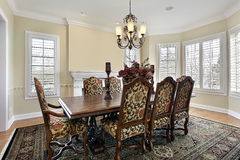 Dining room with cream colored walls Stock Photo