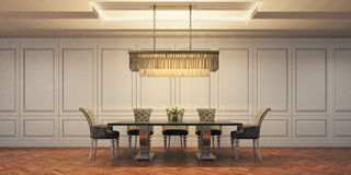 Dining room. 3d rendering dining room modern classic interior Royalty Free Stock Photos