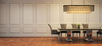 Dining room. 3d rendering dining room modern classic interior Stock Photos