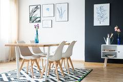 Dining room in the daylight. Spacious dining room with wooden table in the daylight Stock Images
