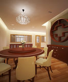 Dining room. Decorated in Chinese style For large family Stock Images