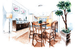Dining room  design of watercolor painting Royalty Free Stock Image