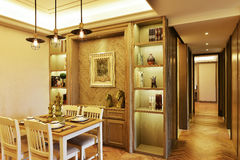 Dining room and door hallway Royalty Free Stock Images