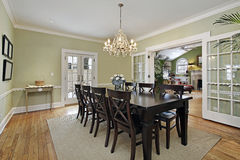 Dining room with door to patio Stock Photo