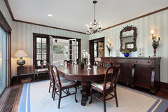 Dining room with door to porch Stock Image