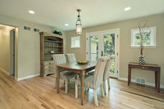 Dining room with doors to patio Stock Image