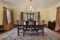 Dining room with doors to patio Royalty Free Stock Image