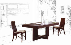 Dining room drawing. Dining table on a sketched room background stock illustration