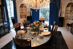 Dining room at Elvis Presley's Graceland stock image
