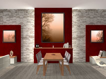 Dining room with exhibits stock illustration