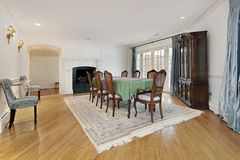 Dining room with fireplace Stock Image
