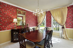 Dining room with flowered wallpaper Royalty Free Stock Image