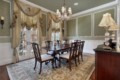Dining room with french doors Royalty Free Stock Photos