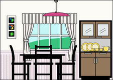 Dining Room with Furniture and Fittings vector illustration