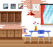 Dining room with furniture in flat vector style Royalty Free Stock Photos