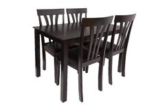 Dining room furniture set of table and four chairs. Elegant dining furniture for living room or kitchen, made of dark brown wood royalty free stock images