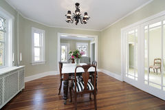 Dining room with glass doors Royalty Free Stock Image