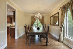 Dining room with gold draperies Stock Photo